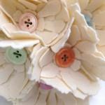 Cream & Multi-coloured Button Felt Bouquet